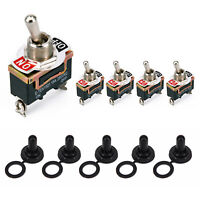 5Pcs Waterproof Toggle Flick Switch 12V ON/OFF Car Dash Light Metal 12 Volt SPST