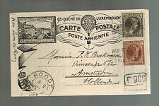 1927 Luxembourg postcard Balloon cover to Amsterdam Holland