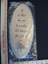 """NEW MOTHER'S DAY 12"""" LONG OVAL PLAQUE WITH DECOUPAGE ROSES AND BLUE BORDER"""