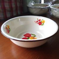 Large 11 inches vintage enamel camping round dishes enamelware bowl Plates Tray