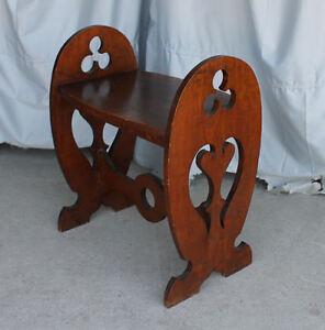 Antique Mission Oak Table – Cut out Design - Shamrocks & Heart shapes