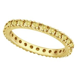 0.51ct Fancy Yellow Canary Diamond Eternity Ring Band 14K Yellow Gold Women's SI