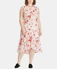 Lauren Ralph Lauren Plus Size Sleeveless Cotton Dress Silk White Multi  20W $165