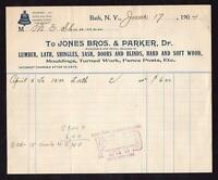 1904 BATH NEW YORK*JONES BROS & PARKER*LUMBER*LATH*SHINGLES*LONG DISTANCE PHONE!