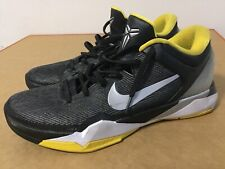 Nike Zoom Kobe VII Supreme Black Metallic Silver size 12 Tour Yellow 488244-001