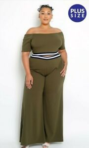 Plus size 2 piece olive set