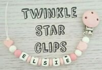 Silicone Personalised Dummy Clip Baby Girl Pacifier Pink White Babies Clip Chain