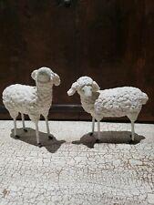 Pair Sheeps Lambs~Plastered/Metal Legs~Folk Art~French Mica Dust~Unique Rare