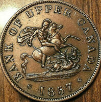 1857 UPPER CANADA DRAGONSLAYER HALFPENNY TOKEN - Really Nice!
