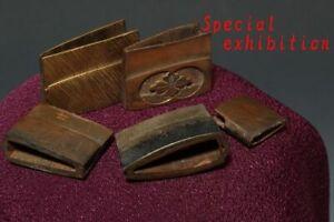 Japan Antiques Edo 5 set silver Habaki yoroi samurai tsuba katana koshirae sword