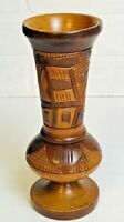 "Vintage 8"" Hand carved wooden vase House Palm Trees Signed Marked on Bottom"