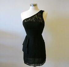 Urban Outfitters Black One Shoulder Dress Lace Detail Size 12 L Nom de Plume
