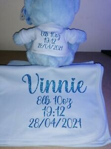 New born Gift Teddy Blanket Personalised Girl Boy Date Weight Name Time Gift set