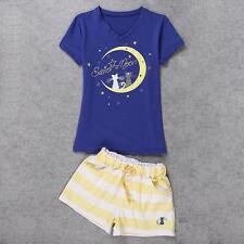 Lovely Cute Sailor Moon Vest+Shorts Sleepwear Pajamas Cotton Pink Blue White