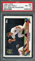 1993 topps florida marlins inaugural #32 DON MATTINGLY new york yankees PSA 8