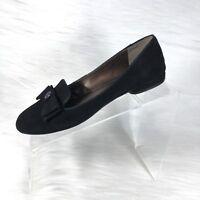 Tahari Hampton Women's Ballet Flats Black Suede Bow Size 7.5 M
