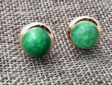 Natural 10mm Green Jadeite Jade Gold plating 925 Sterling Silver Stud Earrings