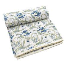 Indian Kantha Quilt Bedspread Ethnic Reversible Bedding Gudri Q1