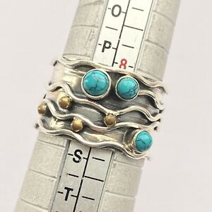 Solid 925 Sterling Silver Wide Band Turquoise Ring Unusual design  Size Q 1/2