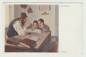 "JUDAICA POSTCARD L.KRESTIN ""DURING THE LESSON"""