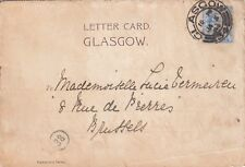 M 82 Glasgow 34 cds on  amazing January 1904 letter card  to Belgium