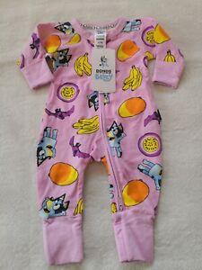Bonds BLUEY & Friends BNWT Size 0000 Fruit bat Wondersuit Baby Zippy Limited