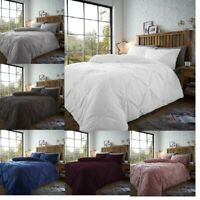 Teddy Pintuck Pleated Duvet Set Luxury  Fleece Quilt Cover Bedding Set(Chiswick)