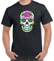 Sugar Skull Day of the Dead Dia de Muertos Mens Cotton T-Shirt