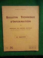 LE MOUTON BULLETIN TECHNIQUE INGENIEURS SERVICES AGRICOLES N73 1953 ELEVAGE