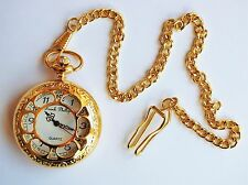"Men's Gold Tone Pocket Watch. Antique Design with Gold tone 14"" chain and clip."