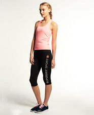 New Womens Superdry Gym Sprint Capri Leggings Black