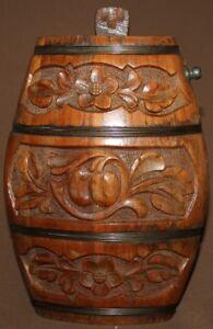 Antique folk floral hand carving wood keg flask