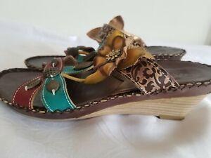 L'Artiste Spring Step Charlotte Leather Sandals Wedge Heel Floral Women Size 8.5