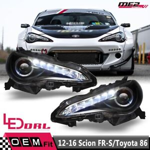 Fit 12-16 Scion FR-S / Toyota 86 Projector Headlights LED DRL - Black/Clear