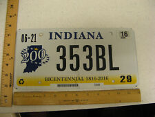 2016 16 INDIANA IN LICENSE PLATE BICENTENNIAL GRAPHIC #353BL NATURAL STICKER