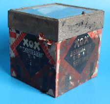 RAR: Antike XOX-Verkaufsdose aus Blech mit Sichtfenster & orig. Banderole