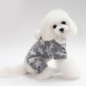 Soft Dog Fleece Pajamas Cute Puppy Dog Pjs Jumpsuit Pet Clothes Apparel Hoodie