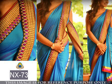 Indian Bollywood Ethnic Bollywood Designer Blue Saree Party Sari Embroidery