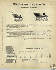1908 PAPER AD Flexible Flyer Snow Sleds 6 Sizes Children's Cutters Angle Steel