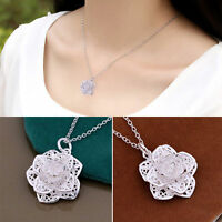 Women Flower 925 Sterling Silver Plated Heart Pendant Necklace Chain Jewelry