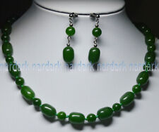 DARK GREEN EMERAL 10x14MM NATURAL GEMSTONE BEADS NECKLACE EARRING SET 18-28'' AA