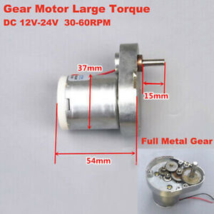 DC 12V-24V 60RPM Slow Speed Micro 7-Type 37mm Full Metal Gear Reduction Motor