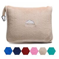 BlueHills Soft Airplane Large Travel blanket with Hand Luggage Belt - Beige