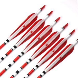 6Pcs 85cm Carbon Arrow Spine 500 OD 7.6mm Real Feather for Recurve Bow Archery