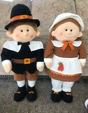 Thanksgiving Boy And Girls Pilgrahms. Standing Plush
