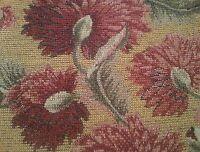 Vintage Upholstery Brocade Fabric Remnants Floral Art Nouveau Pattern Rich Color