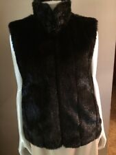 Giacca Gallery & Co Black Faux Fur/PVC Reversible Vest Size M