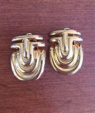Vintage Edwin Pearl Clip-on Earrings Tribal Geometric Goldtone Clipon P.E.P. 90s