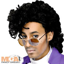 Purple Rain Prince Wig Mens Fancy Dress 1980s Celebrity Adults Costume Accessory