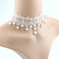 Choker Lace Gothic White Chain Collar Velvet Women Pearl Victorian Necklace